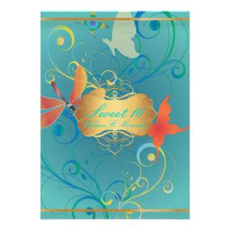 PixDezines Sweet 16 Butterfiles Swirls Dragonflies Invites