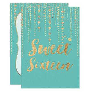 PixDezines sweet 16, Golden Hearts Strings Glitter Card