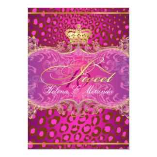 PixDezines Sweet 16/Magenta leopard/DIY color!! 5x7 Paper Invitation Card