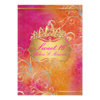 PixDezines Sweet 16 Rainbow Swirls Custom Invitations