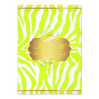 PixDezines Sweet 16/Zebra Stripes 5x7 Paper Invitation Card