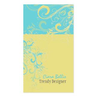 PixDezines Swirls lemon+aqua Business Card Template