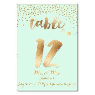 PixDezines table 12/gold sprinkles/DIY color/mint Card