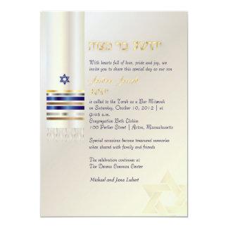 PixDezines talit/Stylish Bar Mitzvah/ash/gold 5x7 Paper Invitation Card