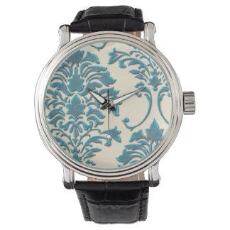 PixDezines teal damask/diy background Watch