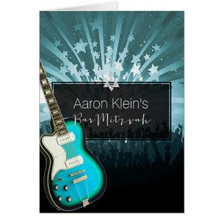 PixDezines teal guitar/photo/bar mitzvah Greeting Card