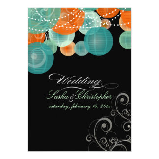 PixDezines teal+orange lanterns/diy background Card