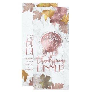 PixDezines Thanksgiving/Maple/Oak/Faux Rose Gold Invitation