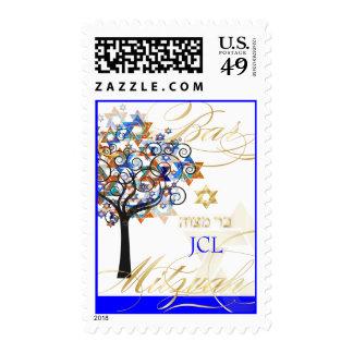 PixDezines tree of life Bar Mitzvah monogram Postage Stamp