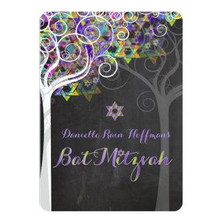 PixDezines tree of life Bat Mitzvah/chalkboard 5x7 Paper Invitation Card