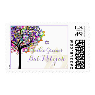 PixDezines tree of life/ Bat Mitzvah Postage Stamp