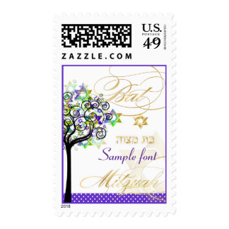 PixDezines tree of life bat mitzvah purple+green Postage Stamp