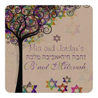 PixDezines tree of life B'not Mitzvah 5.25x5.25 Square Paper Invitation Card