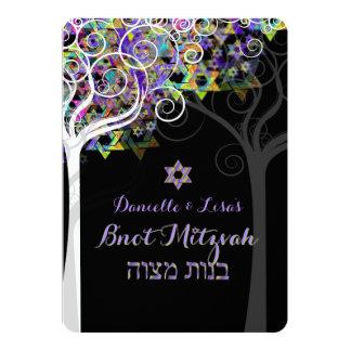 PixDezines tree of life B'not Mitzvah 5x7 Paper Invitation Card