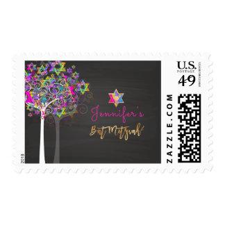 PixDezines Tree of Life/Chalkboard Bat Mitzvah Postage
