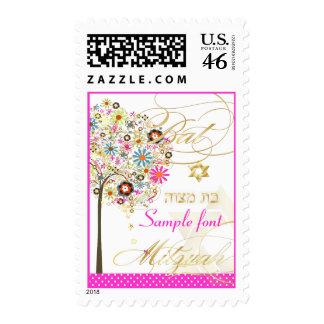 PixDezines tree of life+floral Bat Mitzvah DIY Postage Stamps