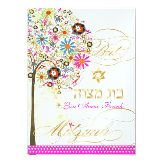 "PixDezines tree of life+floral, Bat Mitzvah 5.5"" X 7.5"" Invitation Card"