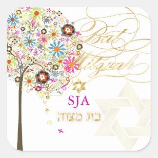PixDezines tree of life/floral/Bat Mitzvah Square Sticker