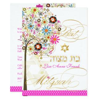 PixDezines TREE OF LIFE+FLOWERS BAT MITZVAH Card