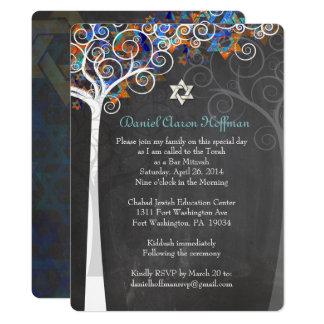 PixDezines tree of life mitzvah/chalkboard Card