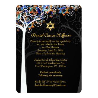 """PixDezines tree of life mitzvah 6.5"""" X 8.75"""" Invitation Card"""