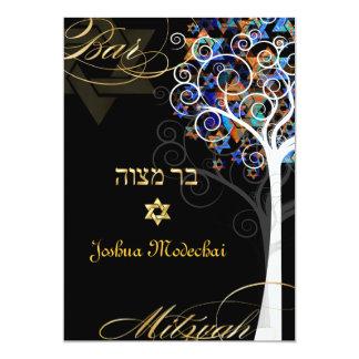 """PixDezines tree of life mitzvah/metallic ice 5"""" X 7"""" Invitation Card"""