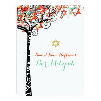 PixDezines tree of life mitzvah/teal/orange Card