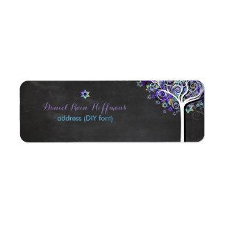 PixDezines tree of life/purple/mitzvah Label
