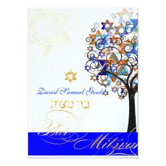 "PixDezines tree of life+stars, Bar Mitzvah 5.5"" X 7.5"" Invitation Card"