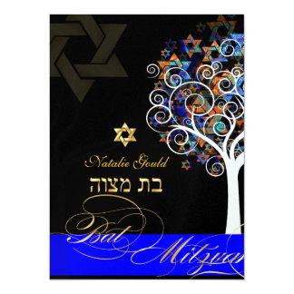 "PixDezines tree of life+stars, Bat Mitzvah 5.5"" X 7.5"" Invitation Card"