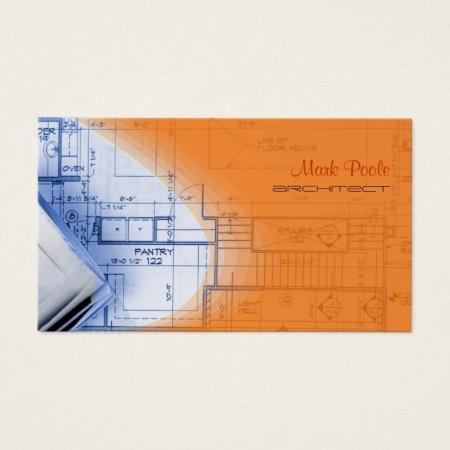 Modern Electric Orange Architectural Blueprints Architect Business Cards