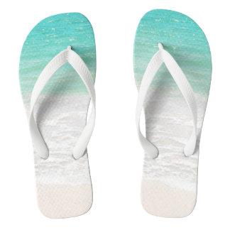 PixDezines tropical beach Flip Flops