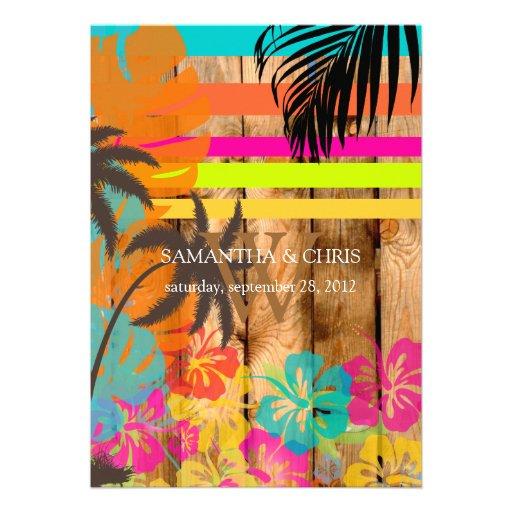 PixDezines tropical grunge/beach theme/DIY colors Custom Announcements