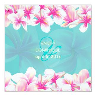 PixDezines Tropical/pink melia 5.25x5.25 Square Paper Invitation Card