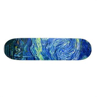 Pixdezines Van Gogh Starry Night Skateboard Deck at Zazzle