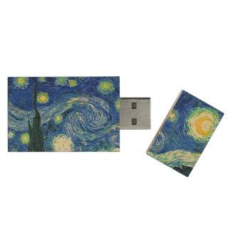 PixDezines Van Gogh Starry Night/St. Remy Wood USB Flash Drive