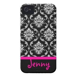 PixDezines Vendom Damask/Pink+Black/DIY color iPhone 4 Case