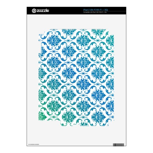 PixDezines vendome damask peacock teal Decals For The iPad 2