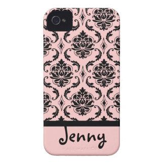 PixDezines Vendome Damask/Pink+Black/DIY color iPhone 4 Case-Mate Case