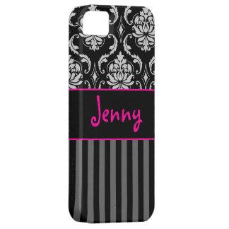 PixDezines Vendome Damask/Pink+Black/DIY color iPhone SE/5/5s Case