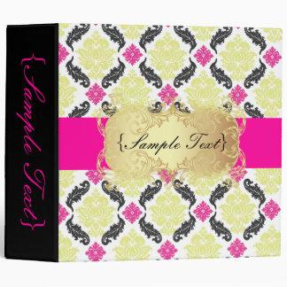 PixDezines Venezia, Pink + Green Damask Vinyl Binder