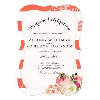 PixDezines victorian roses/peonies/coral stripes Card