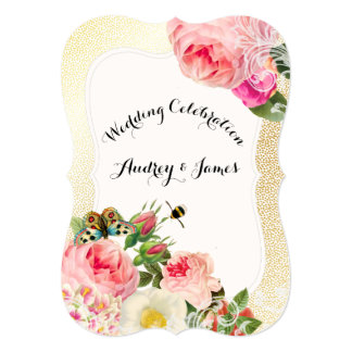 PixDezines victorian roses/peonies/faux gold speck Card