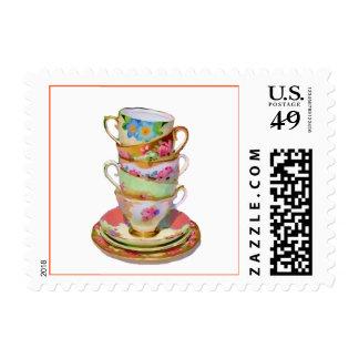 PixDezines victorian tea cups/DIY background Postage Stamp