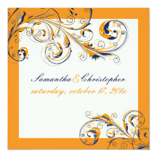 PixDezines Vine Swirls|orange+navy blue|DIY color Card