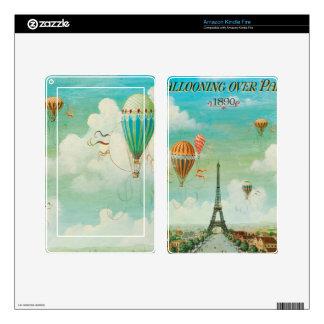 PixDezines vintage balloons/eiffel/paris Decal For Kindle Fire