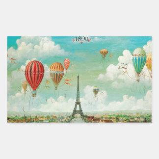 PixDezines vintage balloons/eiffel/paris Rectangular Sticker