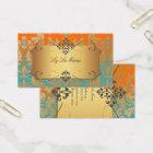 PixDezines Vintage Baroque damask/teal+orange Business Card