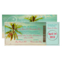 PixDezines Vintage Beach Boarding Pass Invitation