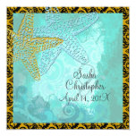 PixDezines vintage beach+damask 5.25x5.25 Square Paper Invitation Card